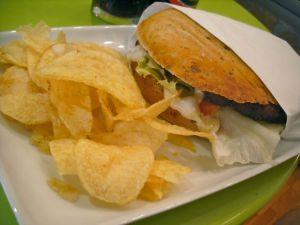 Amazing vegan burger with crisps
