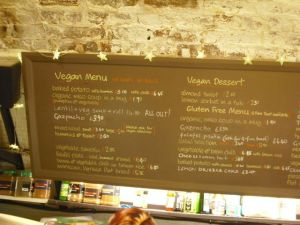 The vegan menu