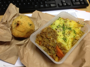 Lentil & fennel pie with potato bhaji