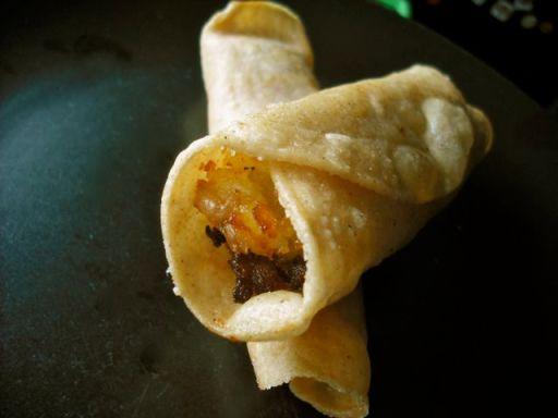 Flautas stuffed with vegan chorizo & mashed potato made with Cool Chile tortillas