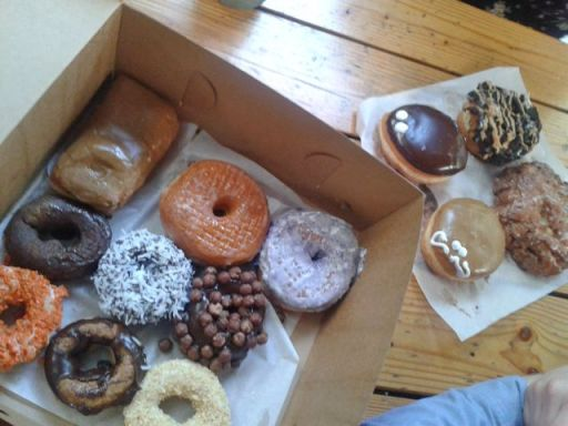 Ridiculous selection of vegan donuts by Voodoo in Portland