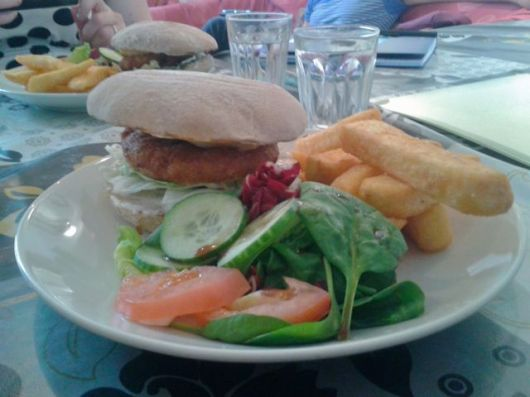 Vegan burger & chips... no halloumi!