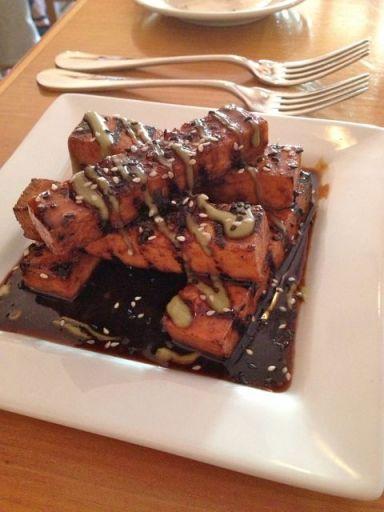 Tamari-maple glazed tofu