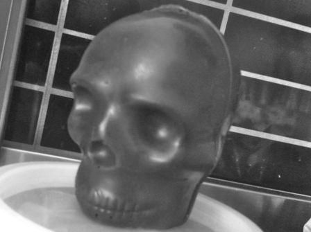 Solid dark chocolate skull
