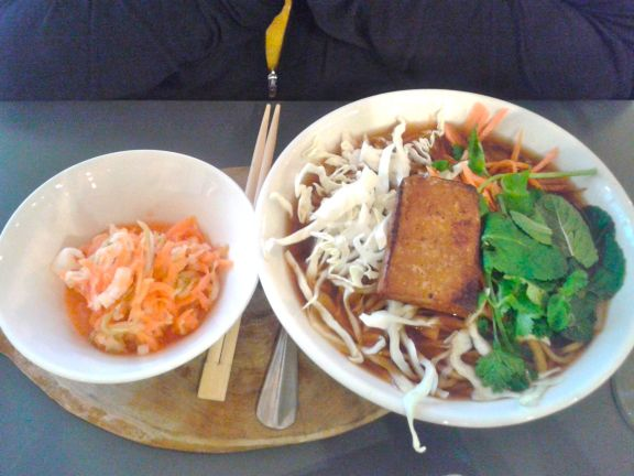 Roxy loved this ramen rice noodle bowl with kimchi side