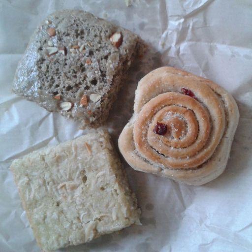 Spiced bread, sweet scroll & coconut bread