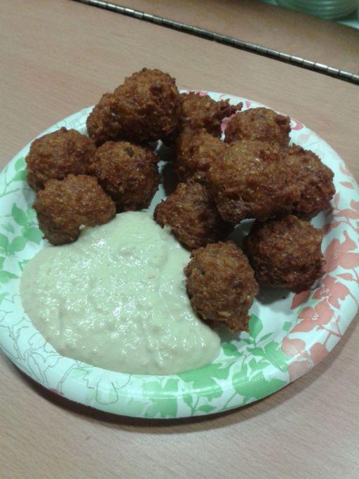 Serving of falafel