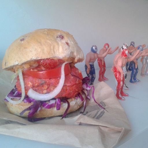 Valentine's burger with fresh strawberry