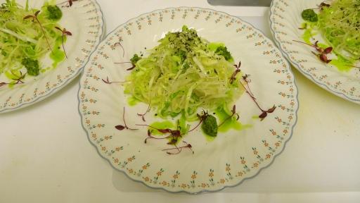 Chiffonade savoy, daikon & scallion salad with ginger miso dressing