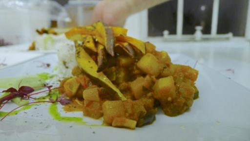 Christophene ratatouille, cajun sweet potato fries, coconut rice with pigeon peas & avocado aioli