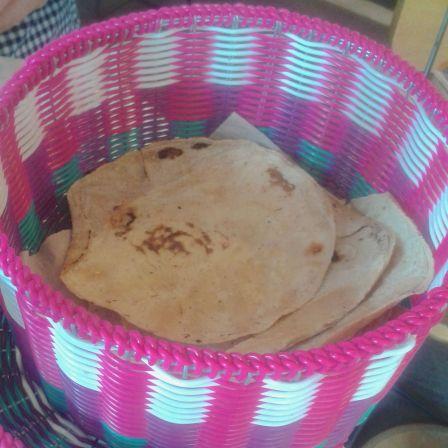 Warm corn tortillas