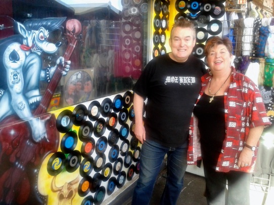 Lyn and Boz Boorer outside their new Camden shop