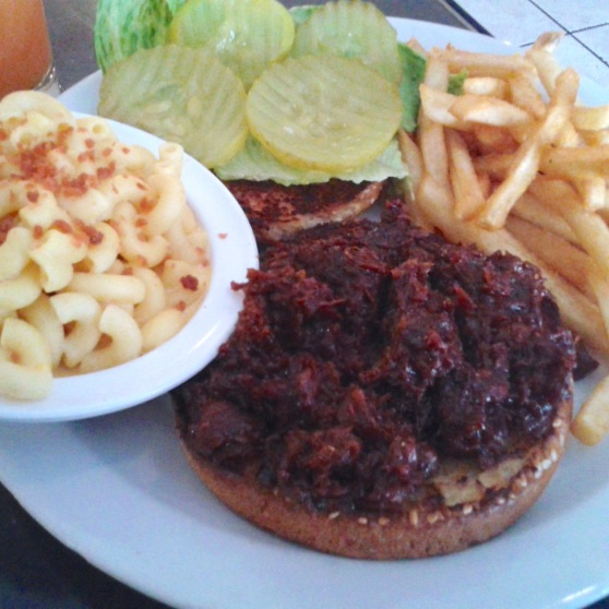 BBQ pulled pork sandwich with fries and mac and cheese